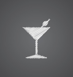 Cocktail sketch logo doodle icon vector