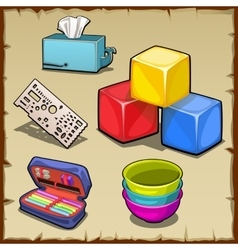 Colorful cube set and tools of the first grader vector