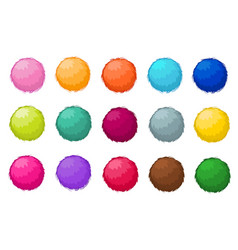 Colorful fluffy pompom fur balls isolated vector