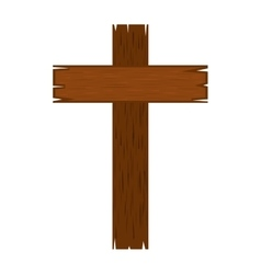 Cross wood isolated icon vector