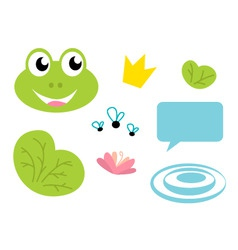 cute frog queen icons set vector image vector image