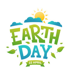earth day banner 22nd april sun with clouds and vector image vector image