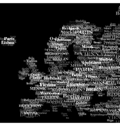 Europe silhouette made from capitals names vector image vector image