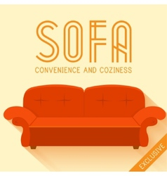 Flat red sofa background concept vector
