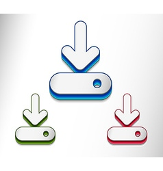 Glossy arrow moving down icon vector