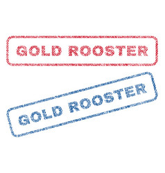 Gold rooster textile stamps vector
