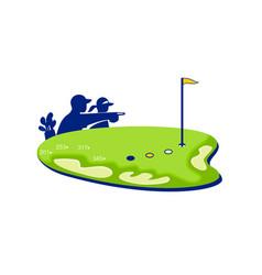 Golfer caddie golf course retro vector