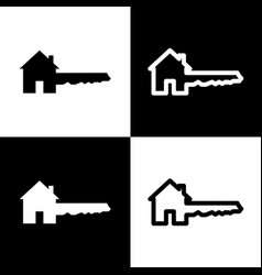 Home key sign black and white icons and vector