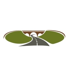 Icon of highway passes under bridge vector