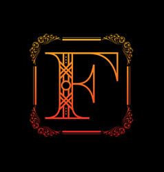 Letter f with ornament vector
