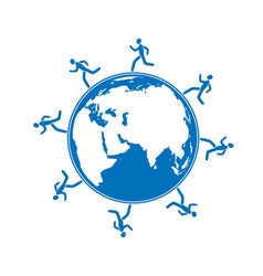 men running around globe vector image