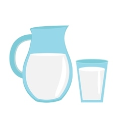 Milk in jug of glass with icon flat sty vector image