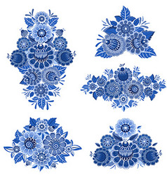 Monochrome collection of fancy decorative flowers vector