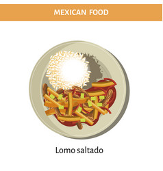 Nutritious lomo saltado on plate from mexican food vector