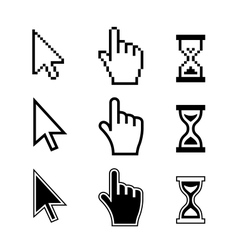 Pixel cursors icons hand arrow hourglass vector