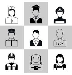Professions avatar icons black set vector