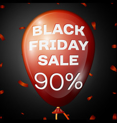 red balloon with text black friday sale ninety vector image