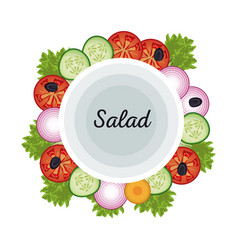 Salad vegetables food fresh diet poster vector