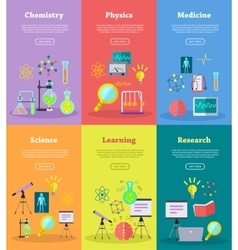 Science web banners set vector