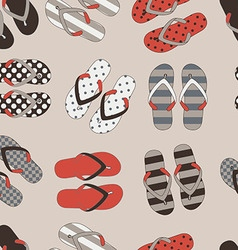 Seamless pattern with colorful flip flops vector image
