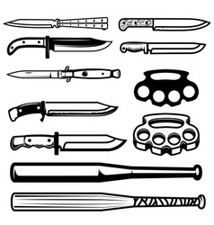 Set of gangsta weapon knives brass knuckle vector