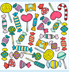 Sketch colored candies and lollipops pattern vector