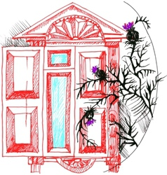sketch the window and thistle vector image