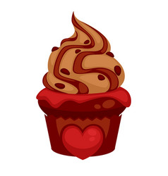 sweet chocolate cupcake with red heard and caramel vector image vector image