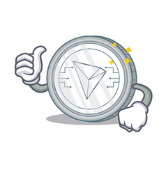 Thumbs up tron coin character cartoon vector