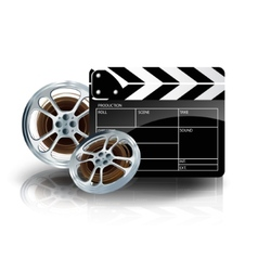video film tape with cinema clapper and filmstrip vector image vector image