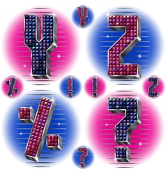 Volume letters YZ and signs with shiny rhinestones vector image vector image