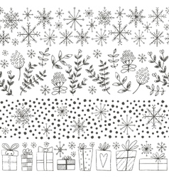 Winter hand drawn seamless borders vector