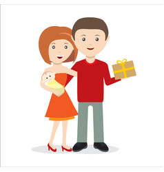 young couple with child and gift happy vector image