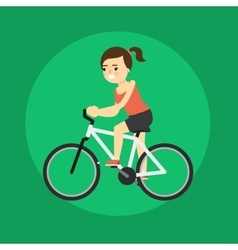 Young smiling woman riding bicycle vector image vector image