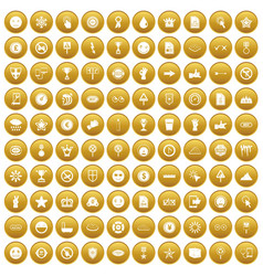 100 symbol icons set gold vector
