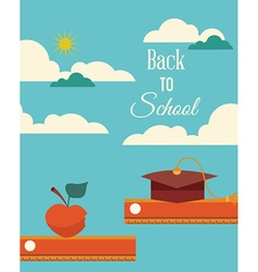Education with clouds apple and graduation vector