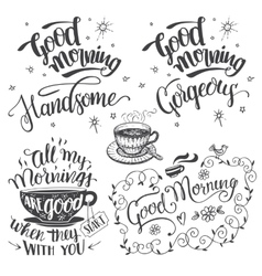 Good morning brush calligraphy set vector