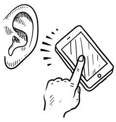 doodle ear phone call listen vector image