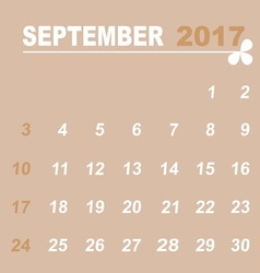 Simple calendar template of september 2017 vector
