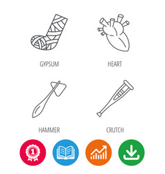 gypsum heart and medical hammer icons vector image