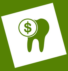 The cost of tooth treatment sign  white vector