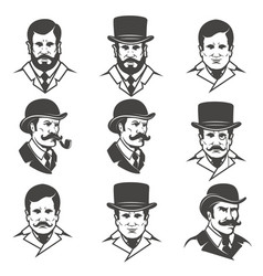 Set of gentlemans heads isolated on white vector