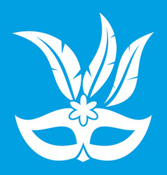 Carnival mask icon white vector
