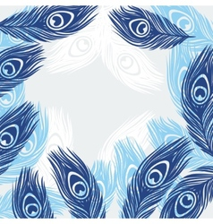 Design background with hand drawn feathers peacock vector