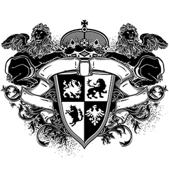 Ornamental heraldic shield with lions vector
