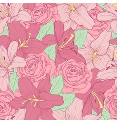 Seamless background with pink lily and roses vector