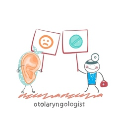 Otolaryngologist holds a poster with pills and vector