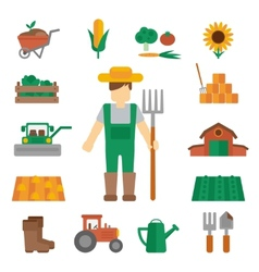 Farmer land icons flat vector