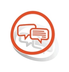 Chatting sign sticker orange vector