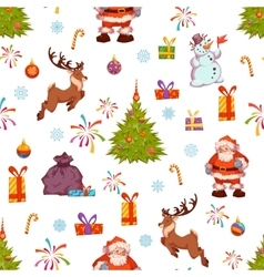 Christmas seamless pattern with santa pine deer vector